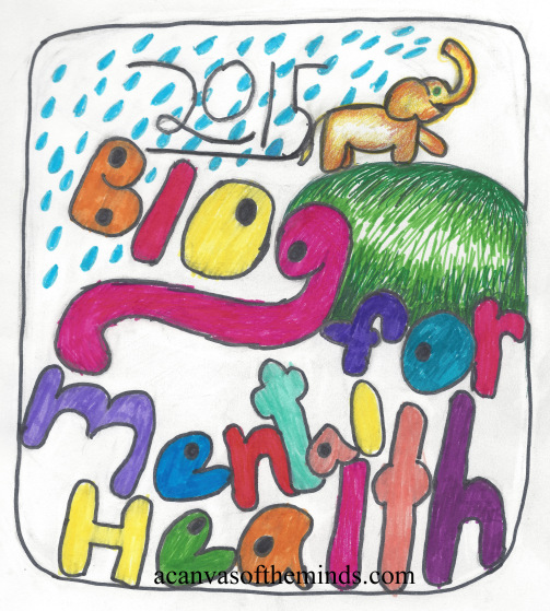 "a smiling elephant walking toward the right side of the image and spraying water from its trunk: over its back and onto the words ""2015 blog for mental health"""