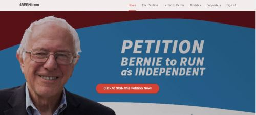"an image of Bernie Sanders with a blue background and the text ""Petition Bernie to run as Inependent"""